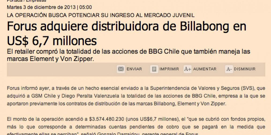 Forus adquiere distribuidora de Billabong en US$ 6,7 millones