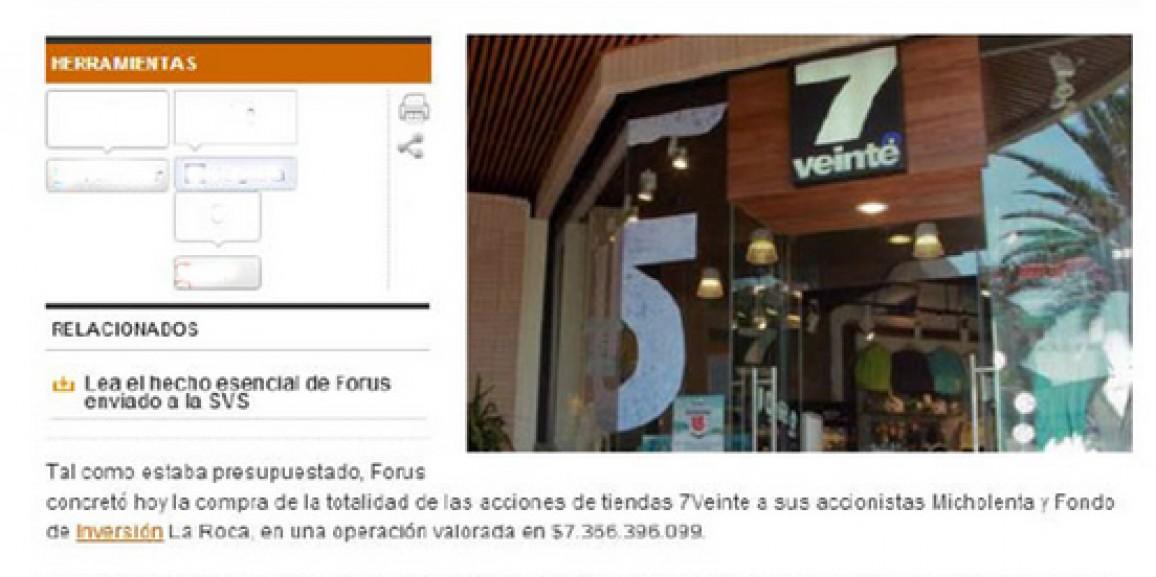 Forus concreta la compra de tiendas 7Veinte por $7.366 millones