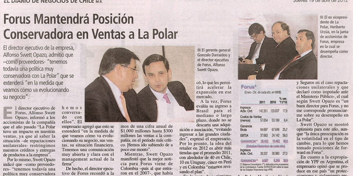 Forus remain conservative position in sales to La Polar