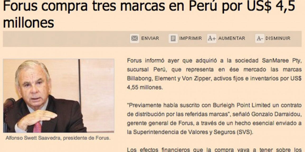 Forus buys three brands in Perú for US$4,5 millions